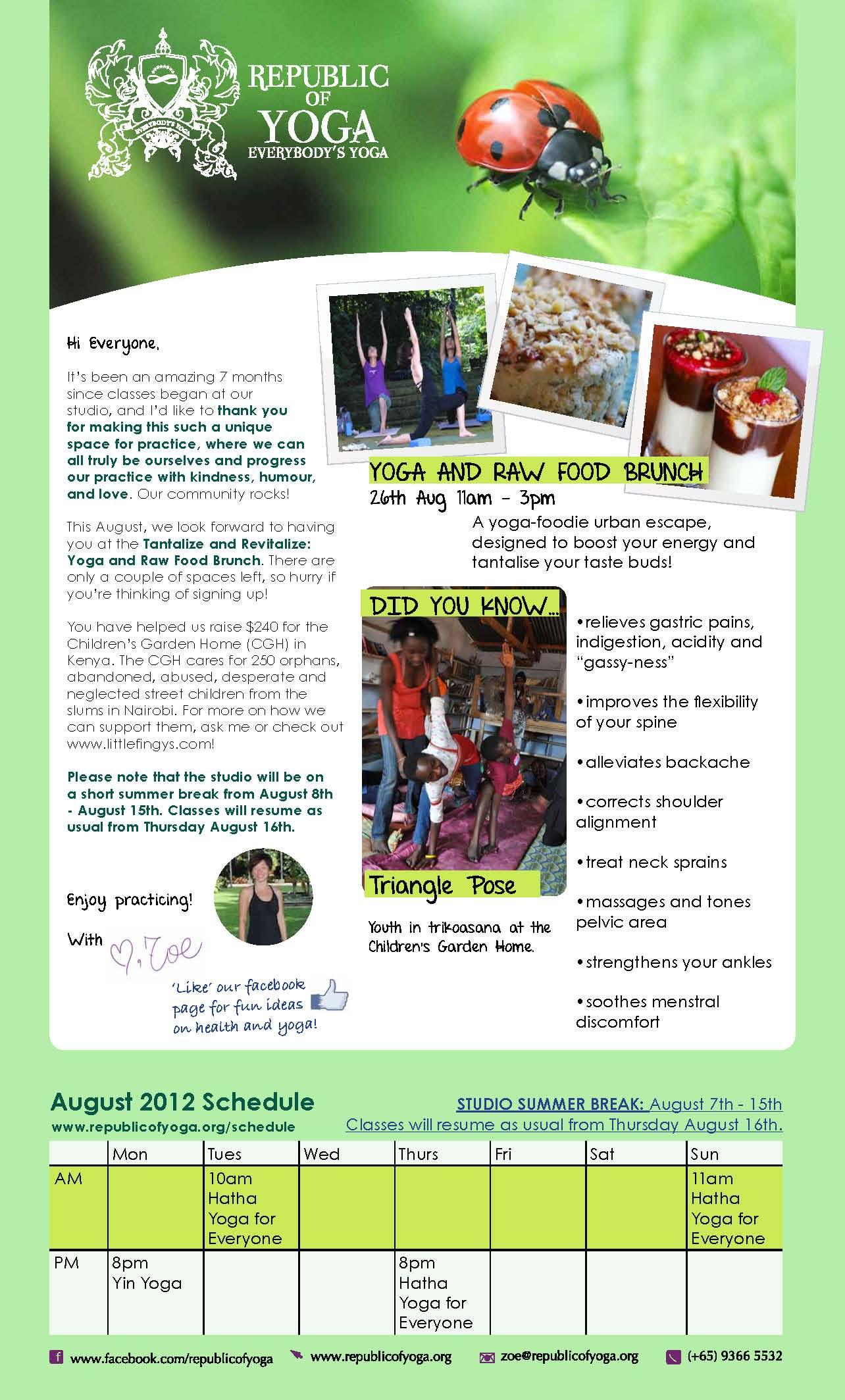 ROY August 2012 Schedule